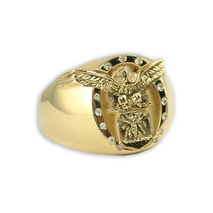 Gold Air Force Eagle Ring by Mike Carroll with 13 diamonds