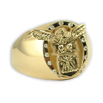 Gold Air Force ring with diamonds by Mike Carroll