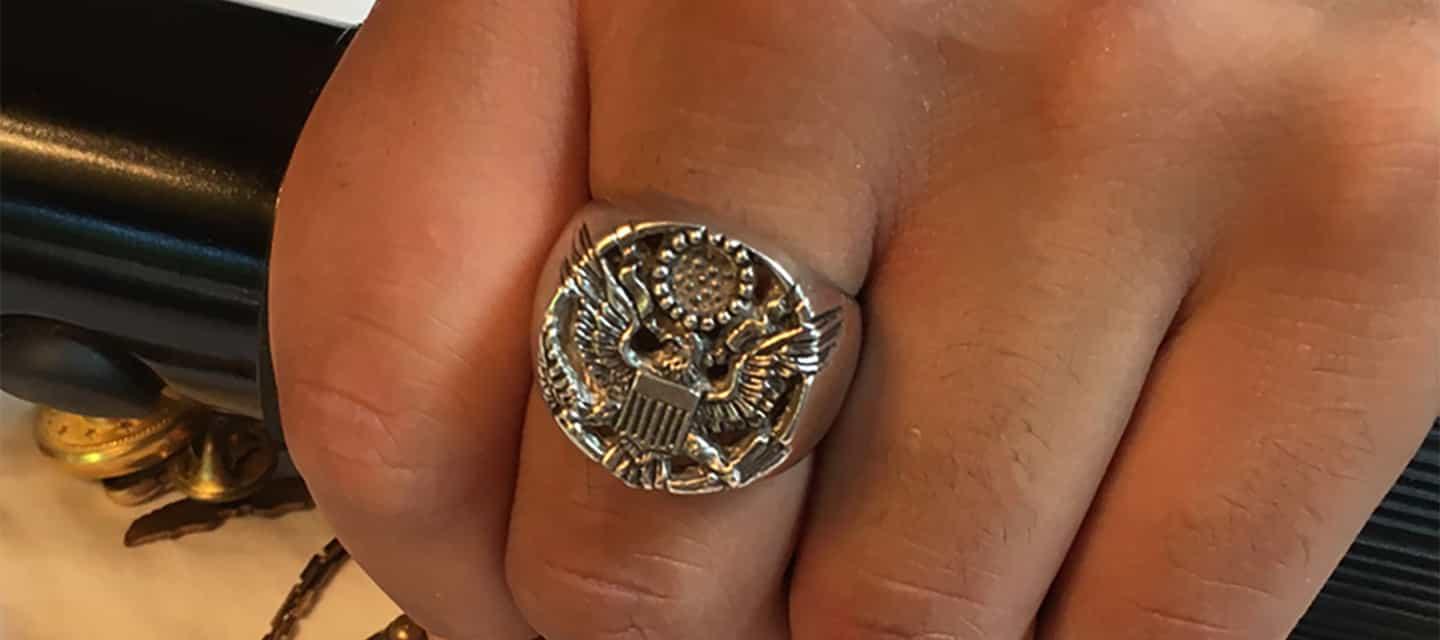 Justice eagle ring in sterling silver