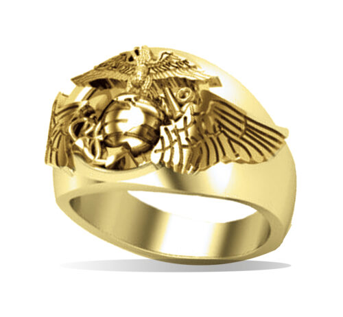 Gold Marine Corps Aviator Eagle Ring