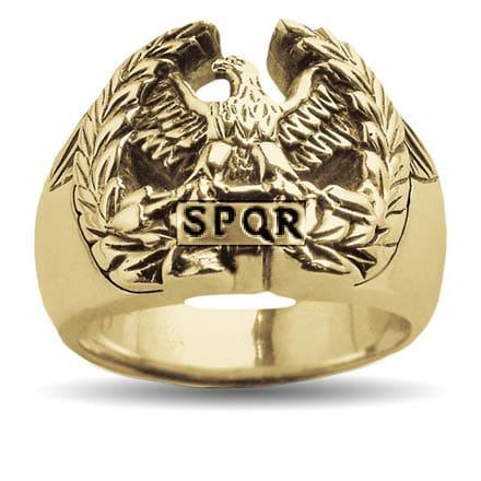 Gold SPQR eagle ring