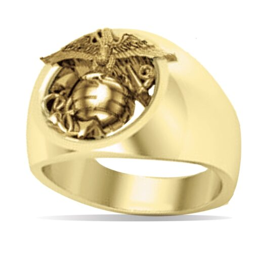 Gold Marine Corps Laser Eagle Ring